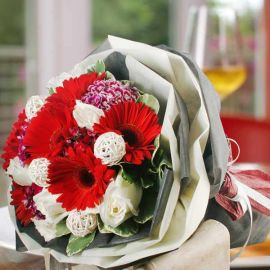 Gerbera, White Roses & Twig Balls HandBouquet