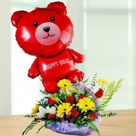 Beary Glow Flowers Basket Arrangement