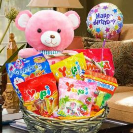 30cm Love Bear with Sweets in Basket.