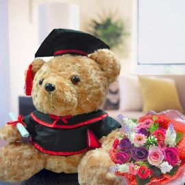 13 inches Graduation Bear with Artificial Roses Hand Bouquet