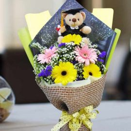 Graduate Bear 15cm With 5 Mixed Gerbera Flowers Hand Bouquet