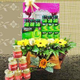 Birdnest, Chicken Essence & Roses Basket Arrangement