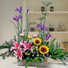 Iris, Sunflowers & Pink Lilies Table Arrangement
