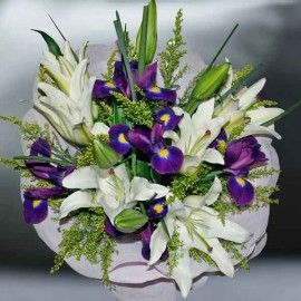 Iris & White Lilies Hand Bouquet (need 2 day advance order)