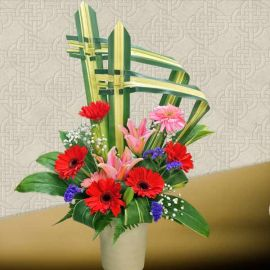 Pink Lily Fresh Flowers Table Arrangement
