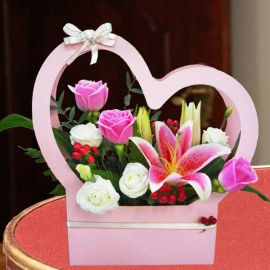 Pink Lily and Roses Arrangement in Heart Shape Handle Flower Box