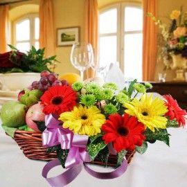 Mixed Gerberas & Fruits Basket