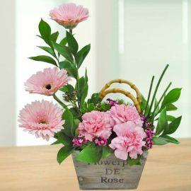 Pink Carnations & Gerbera Table Arrangement
