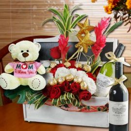 """I Love U Mum"" Bear, Flowers & Wines Basket"