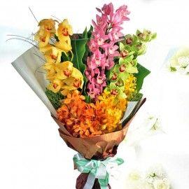 Mokara & Cymbidium Orchids Hand Bouquet