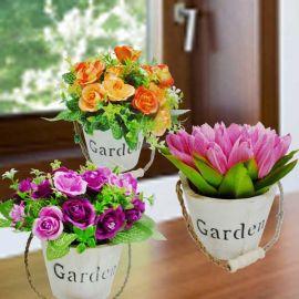 3 Pots Of Artificial Flowers ( Wooden Pot )