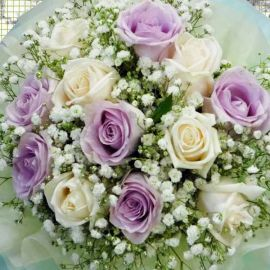 6 Cream & 6 Yam Color Rose Hand Bouquet