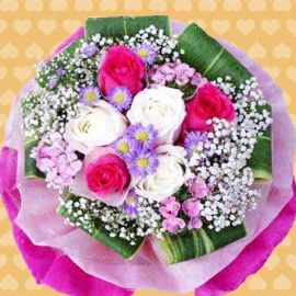 3 Hot Pink 3 White Roses HandBouquet