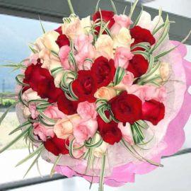 50 Mixed Roses Handbouquet
