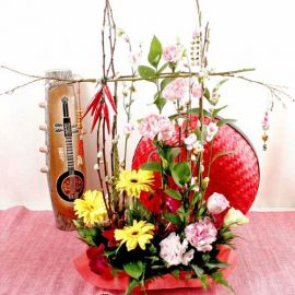 13 Oranges With Gerberas Basket  Arrangement