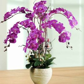 Artificial Purple Phalaenopsis Orchid Table Arrangement
