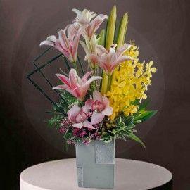 Orchids & Lilies Table Arrangement