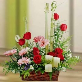 Pink Gerbera & Red Roses Flowers Table Arrangement
