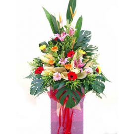Pink lily and Mixed gerbera arrangement 5 feet height