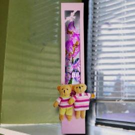 3 Purple Roses in Gift Box & Mini Couple Bear