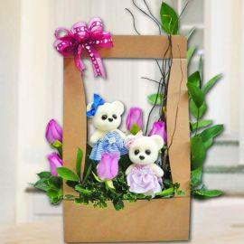 Couple Bear & 5 Purple Roses Arrangement