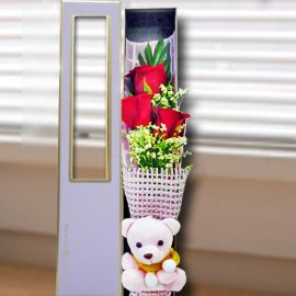 3 Red Roses & Pink Bear in Gift Box