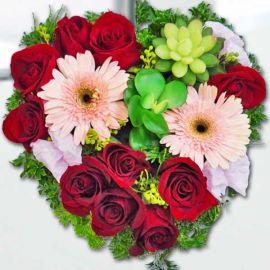 10 Red Roses in Heart-Shape Table Arangement
