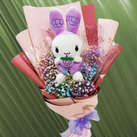 Rainbow Baby's Breath & 25cm Bunny Hand Bouquet Singapore Delivery