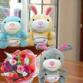 16cm Bunny ( One Only ) & Artificial Flowers Bouquet.