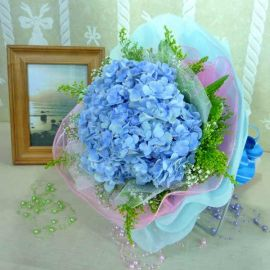 Blue hydrangeas Small Hand Bouquet