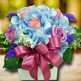 Blue Hydrangea & 8 Roses Small Arrangement