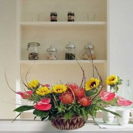 Sunflowers & Red Anthuriums Flowers Table Arrangement