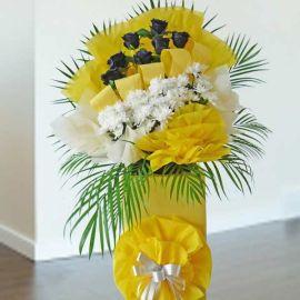 Artificial Black Roses & Fresh PomPom Flowers 5 feet height Arrangement.