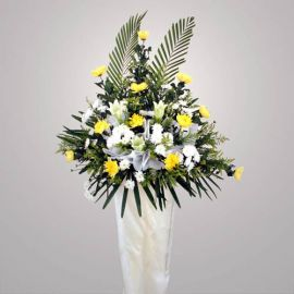 Chrysanthemum yellow with white Lily in metal stand 6 ft heightL