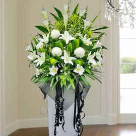 Artificial Lilies, Fresh Lilies & Chrysanthemum White box stand 5 feet height.