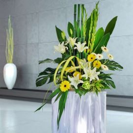 Gladiolus & White Lilies Flowers Arrangement 5 Ft Height