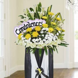 White Lilies & Chrysanthemum Sympathy Flower Stand