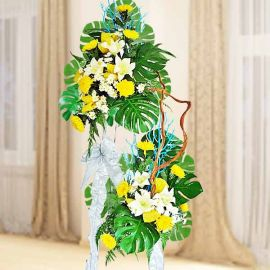Fresh Chrysanthemum & Artificial Lilies With Wooden Vines