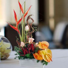 Orange Anthurium Table Arrangement