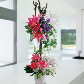 Pink Lilies Table Arrangement