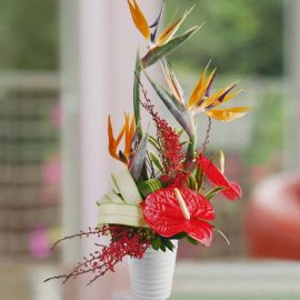 Bird Of Paradize & Red Anthurium Table Arrangement