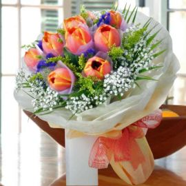 Citrus Orange Tulips Hand Bouquet