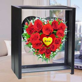 12 Red Roses heart-shape in Standing Box