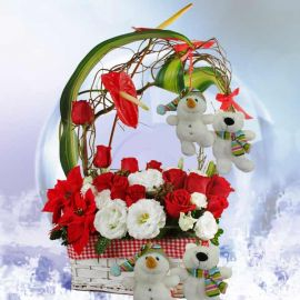 Merry Sentiments Christmas Flower Arrangement