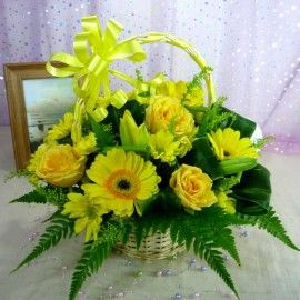 Yellow Roses & Gerbera Small Basket Arrangement